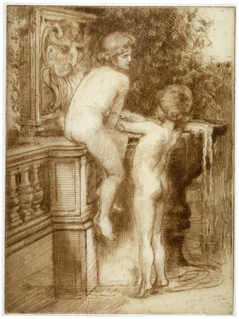 'Two Boys at a Water Fountain', c1864-1930