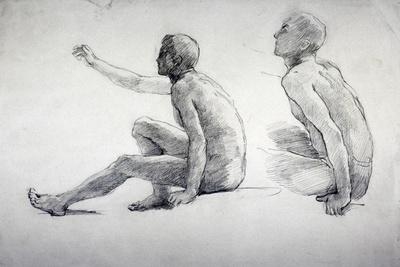 Two Studies of a Seated Male Nude, C1864-1930