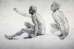 Two Studies of a Seated Male Nude, C1864-1930 by Anna Lea Merritt
