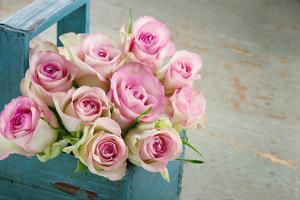 Roses in an Old Blue Wooden Basket by Anna-Mari West