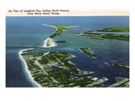 Anna Maria Island, Florida - Aerial View of Island, Longboat Key-Lantern Press-Art Print