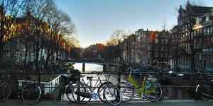 Amsterdam Bicycles on Brige over Canal by Anna Miller