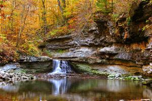 Autumn waterfall in McCormics Creek State Park, Indiana, USA by Anna Miller