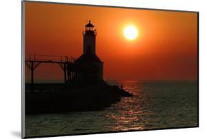 Indiana Dunes lighthouse at sunset, Indiana Dunes, Indiana, USA by Anna Miller