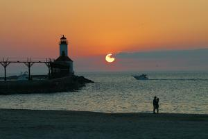 Indiana Dunes lighthouse at sunset, Indiana Dunes, Indiana, USA by Anna Miller