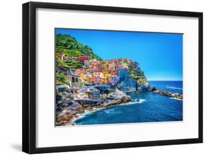 Beautiful Colorful Cityscape on the Mountains over Mediterranean Sea, Europe, Cinque Terre, Traditi by Anna Omelchenko