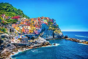 Beautiful Colorful Cityscape on the Mountains over Mediterranean Sea, Europe, Cinque Terre, Traditi by Anna Omelchenko