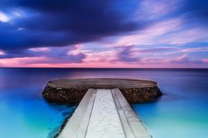 Beautiful Pier in Sunset, Dramatic Purple and Blue Cloudy Sky, Place for Romantic Dinner, Luxury Re by Anna Omelchenko