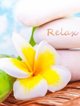 Beautiful Spa Still Life on the Beach, Spa Stones, Yellow Frangipani Flower, Tropical Resort, Summe
