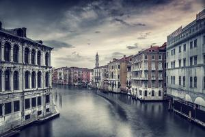 Beautiful Venice Cityscape, Vintage Style Photo of a Gorgeous Water Canal, Traditional Venetian Str by Anna Omelchenko