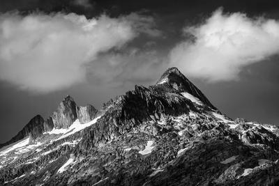 Black and White Photo of Majestic Mountainous Landscape, Dramatic Cloudy Sky, Beautiful Panorama, E