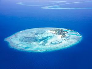 Islands Aerial View, Beautiful Blue Sea around Maldives Islands, Beauty of Nature, Exotic Tourism, by Anna Omelchenko