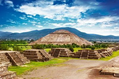Pyramids of the Sun and Moon on the Avenue of the Dead, Teotihuacan Ancient Historic Cultural City,