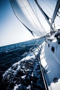 Sailboat in Action, Extreme Sport, Luxury Water Transport, Summer Vacation, Cruise in the Sea, Acti by Anna Omelchenko