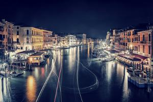 Venice City at Night, Beautiful Majestic Cityscape, Many Glowing Lights in the Buildings over Grand by Anna Omelchenko