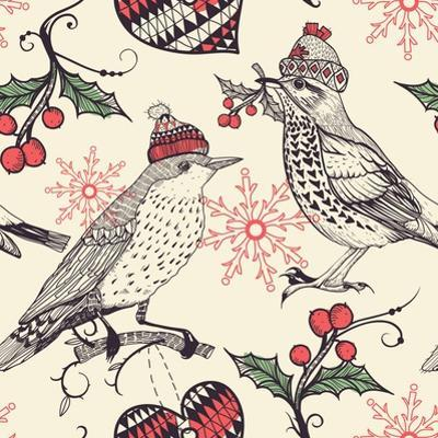 Christmas Vector Seamless Pattern with Fantasy Birds and Holly Berries by Anna Paff