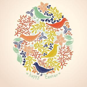 Easter Vector Background with Colorful Birds and Flowers by Anna Paff