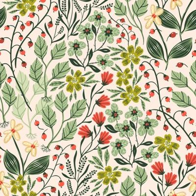 Floral Pattern with Colorful Summer Plants and Flowers by Anna Paff