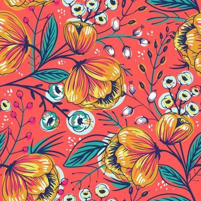 Floral Pattern with Vintage Blooming Flowers on a Red Background