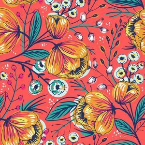 Floral Pattern with Vintage Blooming Flowers on a Red Background by Anna Paff