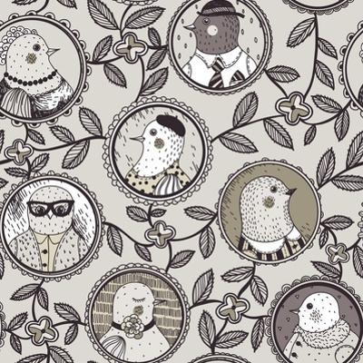Pattern with Bird Family Tree by Anna Paff