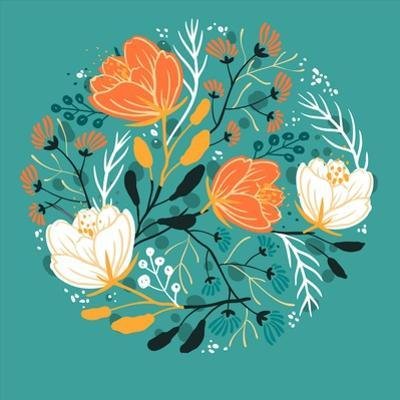 Vector Floral Illustration of Blooming Poppies and Fantasy Plants by Anna Paff