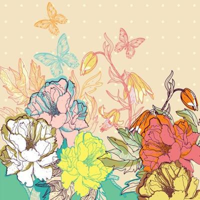 Vector Floral Illustration of Colorful Summer Flowers and Butterflies by Anna Paff