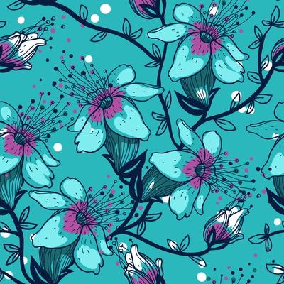 Vector Floral Seamless Pattern with Blooming Apple Tree