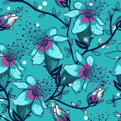 Vector Floral Seamless Pattern with Blooming Apple Tree by Anna Paff