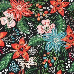 Vector Floral Seamless Pattern with Colorful Christmas Flowers by Anna Paff