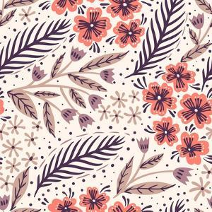 Vector Floral Seamless Pattern with Decorative Flowers by Anna Paff