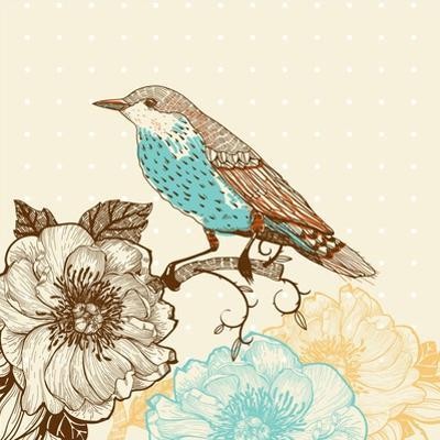 Vector Illustration of a Bird and Blooming Flowers in a Vintage Style by Anna Paff
