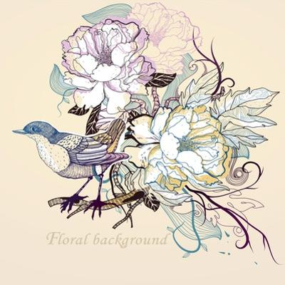 Vector Illustration of a Little Bird and Blooming Roses by Anna Paff