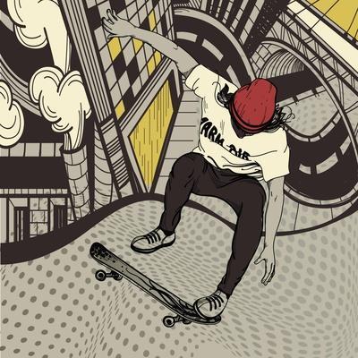 Vector Illustration of an Urban Boy Jumping on a Skateboard