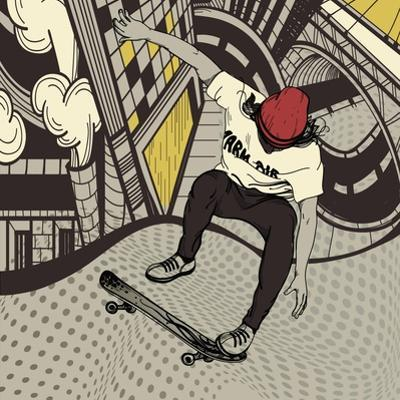 Vector Illustration of an Urban Boy Jumping on a Skateboard by Anna Paff