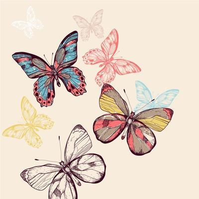 Vector Illustration of Multicolored Flying Butterflies
