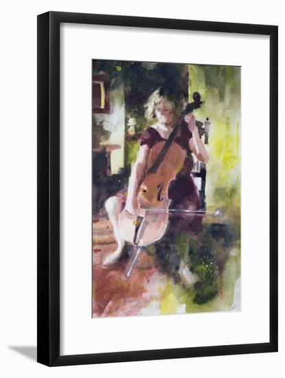 Anna Playing the Cello-John Lidzey-Framed Giclee Print