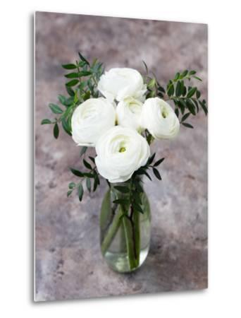 White Ranunculus Flowers in Vase Grey Background