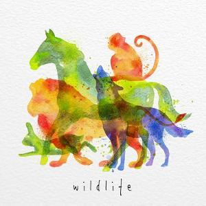 Color Animals ,Horse, Wolf, Monkey, Lion, Rabbit, Drawing Overprint on Watercolor Paper Background by anna42f