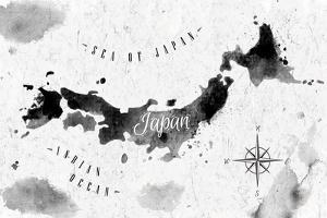 Ink Japan Map by anna42f