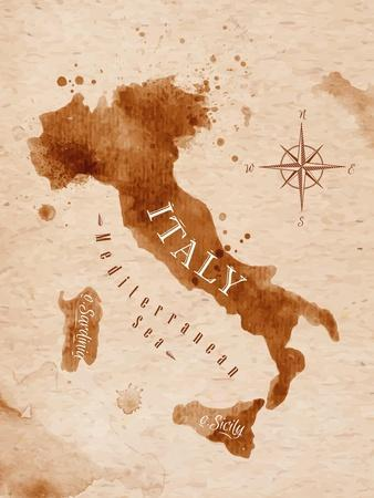 Map of Italy in Old Style in Vector Format, Brown Graphics in a Retro Style