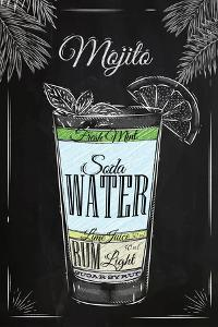 Mojito Cocktail in Vintage Style Stylized Drawing with Chalk on Blackboard by anna42f