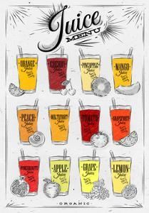 Poster Juice Menu with Glasses of Different Juices Drawing on Background of Dirty Paper by anna42f