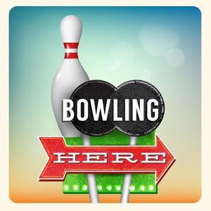 Retro Neon Sign Bowling by anna42f