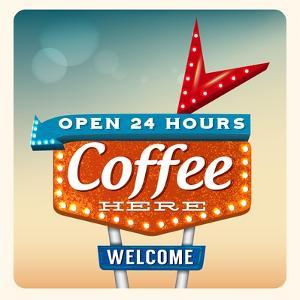 Retro Neon Sign Coffee by anna42f