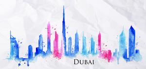 Silhouette Watercolor Dubai by anna42f
