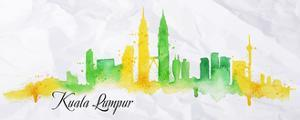 Silhouette Watercolor Kuala Lumpur by anna42f