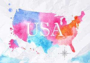 Watercolor Map United States Pink Blue by anna42f
