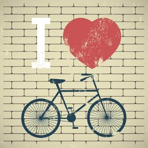 Illustration Bicycle over Grunge Brick Wall. I Love My Bicycle by AnnaKukhmar