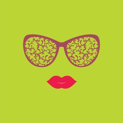 Sunglasses and Lips. Vector Illustration. Print for Your T-Shirts. Hipster Theme.